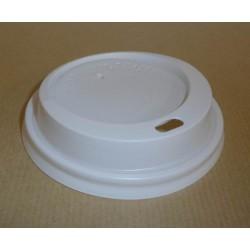 Couvercle plastique blanc pour gobelet carton 25 cl